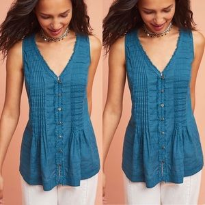 Maeve blue pintucked sleeveless blouse XS